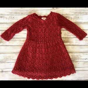 Cat and a Jack Girl's Red Lace Sweater Dress